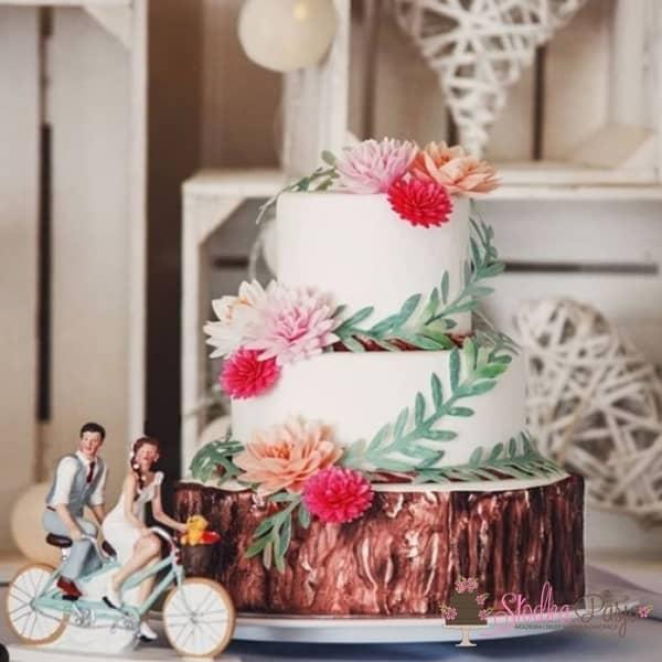Dekoracja na tort Gałązka oliwna waflowa - 4 szt