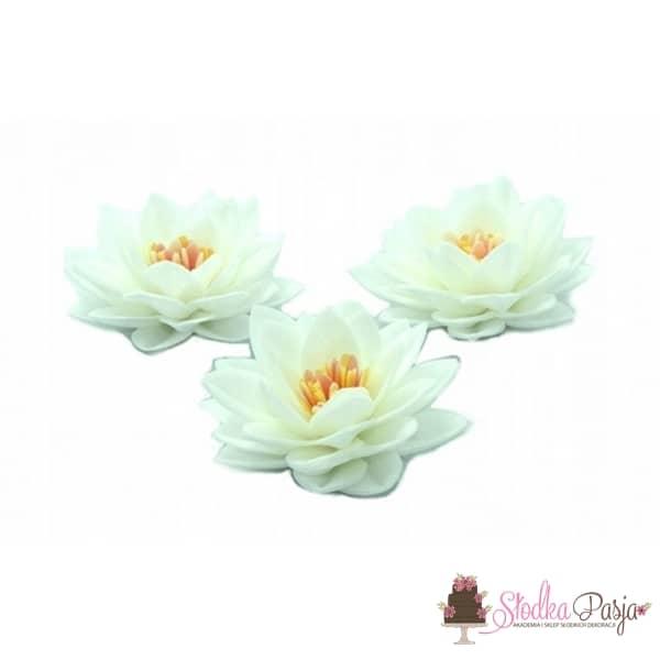 Dekoracja na tort Kwiat Lotosu biały waflowy - 15 szt