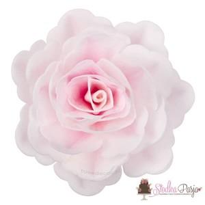 Dekoracja na tort kwiat róża chińska cieniowana różowa waflowa - 1 szt