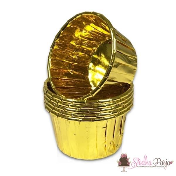 Papilotki do muffinek foliowe marszczone złote  - 50 szt