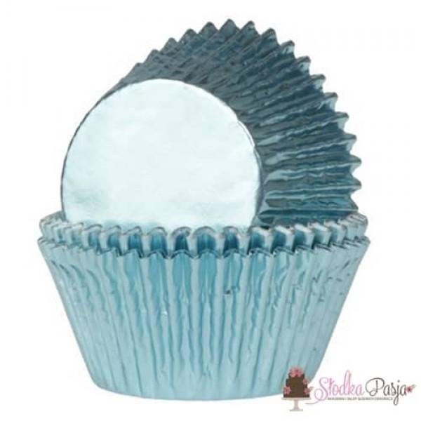 Papilotki na muffinki HOM 24 szt - baby blue metalizowane