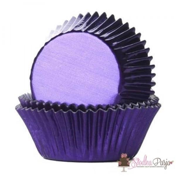Papilotki na muffinki HOM 24 szt - fioletowe metalizowane