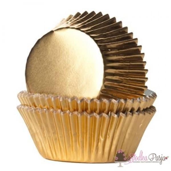 Papilotki na muffinki HOM 24 szt - złote metalizowane