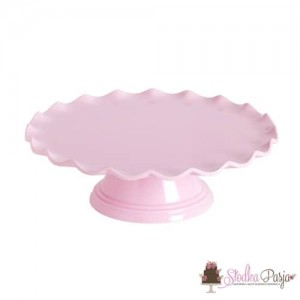 Patera na tort różowa z falbanką - 27 cm