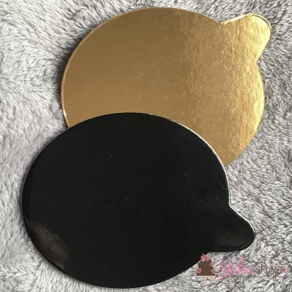 Podkład okrągły do monoporcji złoto czarny - 8 cm