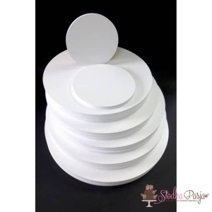 Podkład pod tort Aleksander Print grubość 1 cm biały okrągły - 24 cm