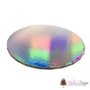 Podkład pod tort 25cm - holograf srebro