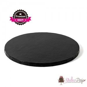 Podkład pod tort sztywny Decora okrągły czarny - 25 cm