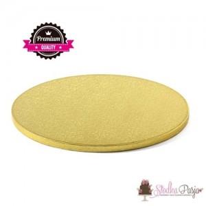 Podkład pod tort sztywny Decora okrągły złoty - 26cm