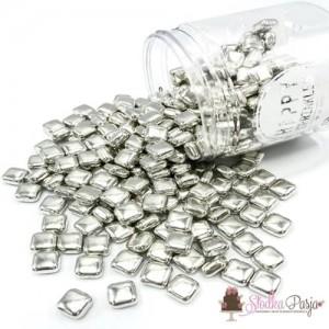 Posypka cukrowa Happy Sprinkles Metallic Squares 100g - srebrna