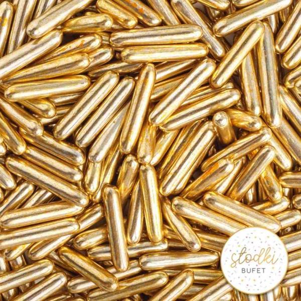 Posypka cukrowa Słodki Bufet 90 g - pałeczki makaroniki stare złoto old gold