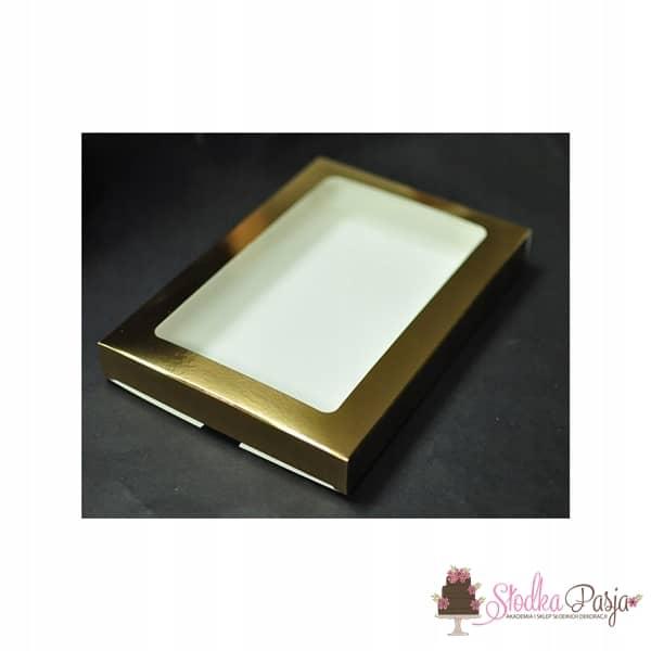 Pudełeczko z okienkiem na ciasteczka złote - 15X21X2
