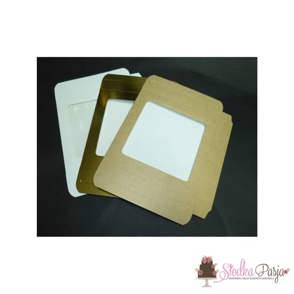 Pudełeczko z okienkiem na ciasteczka złote- 15x15x2