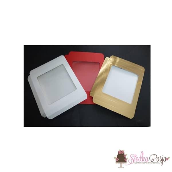Pudełeczko z okienkiem na ciasteczka złote- 21X21X2