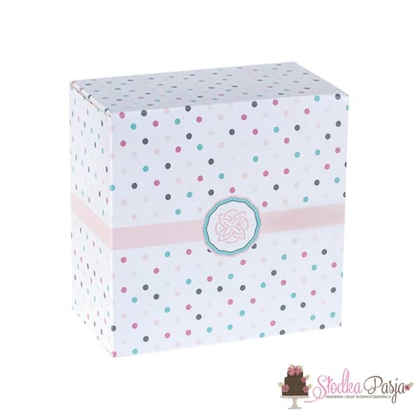 Pudełko cukiernicze w kropki - 130x130x70