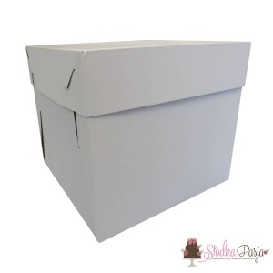 Pudełko na tort białe z pokrywką 30X30X25