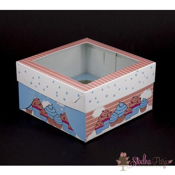 Pudełko z okienkiem z nadrukiem na 4 muffinki