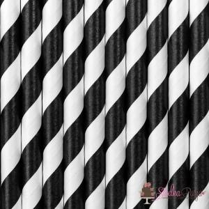 Słomki papierowe czarno-białe paski 250szt.