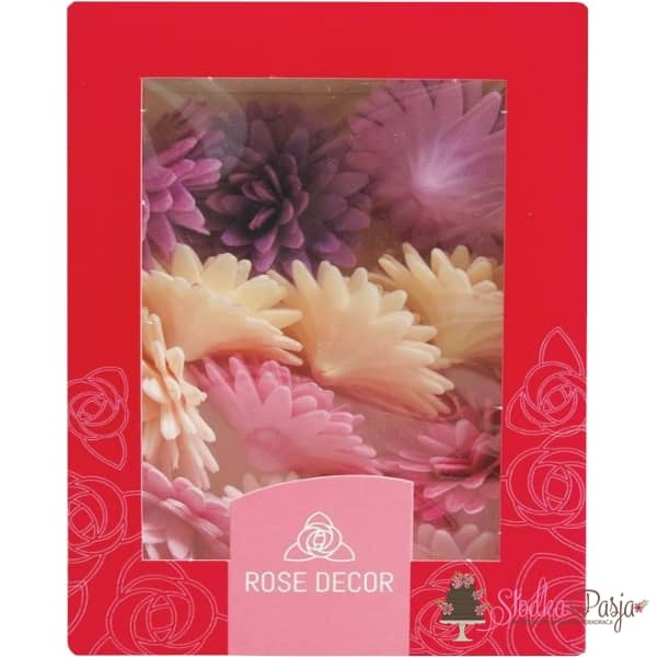 Stokrotka pomponikowa waflowa dekoracja na tort lila-róż - 12 szt
