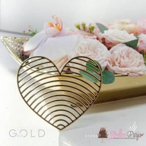 Topper na tort dekor na front tortu MM serce 10 cm - złoty