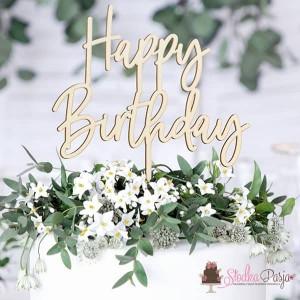 Topper na tort drewniany - Happy Birthday