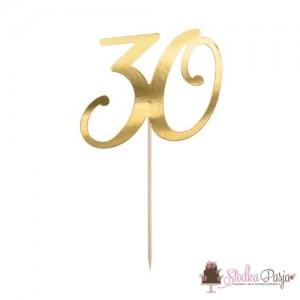 Topper na tort złoty- cyfra 30