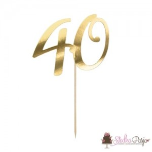 Topper na tort złoty - cyfra 40