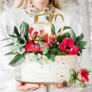 Topper na tort złoty - cyfra 50