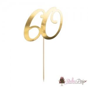 Topper na tort złoty - cyfra 60