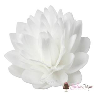 Dekoracja na tort kwiat Dalia biała waflowa - 1 szt