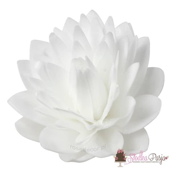 dekoracja na tort Dalia biała waflowa - 1 szt