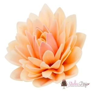 Dekoracja na tort kwiat Dalia pudrowa waflowa - 1 szt