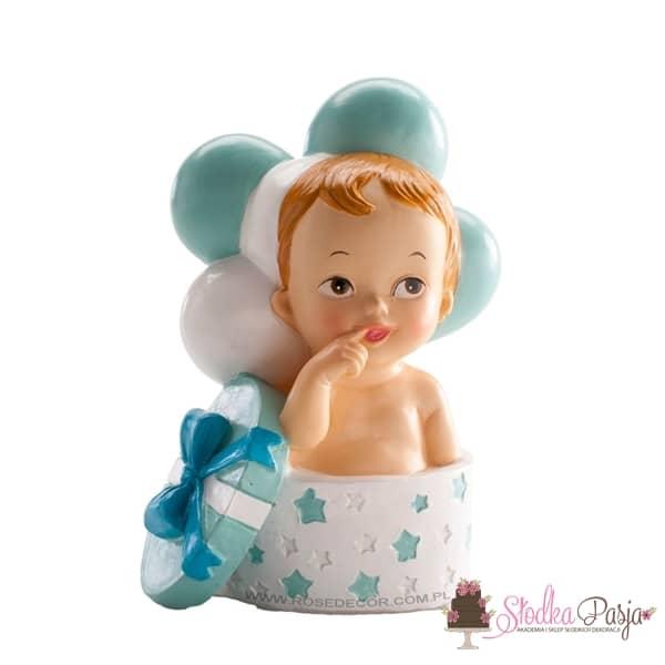 Figurka na tort Chrzest Dziecko w prezenciku