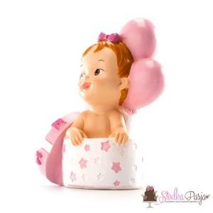 Figurka na tort Chrzest Dziecko w prezenciku dziewczynka