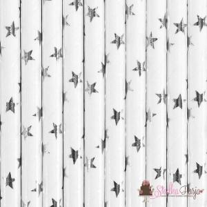Słomki papierowe białe w gwiazdki - 10 szt