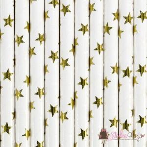 Słomki papierowe białe w złote gwiazdki - 10 szt