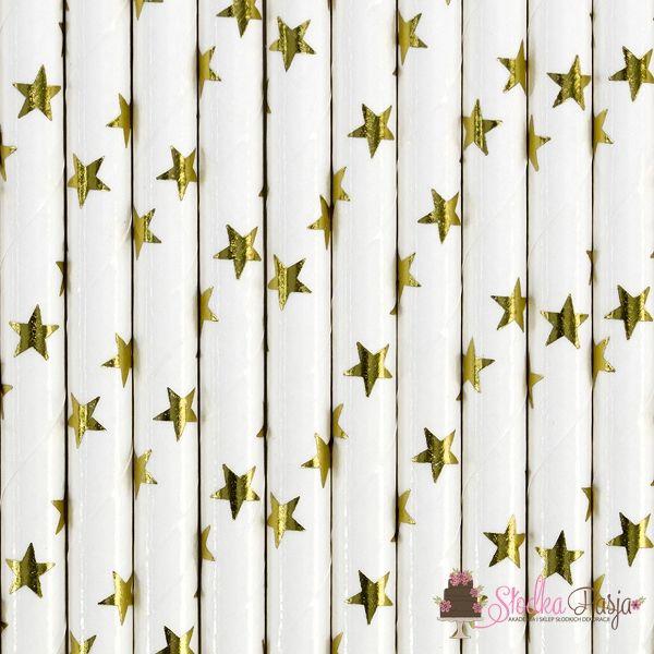 papierowe słomki białe w złote gwiazdki - 10 szt
