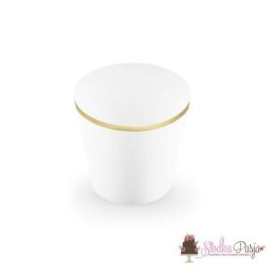 Papilotki na muffinki Elegant Bliss białe - złote - 6 szt.