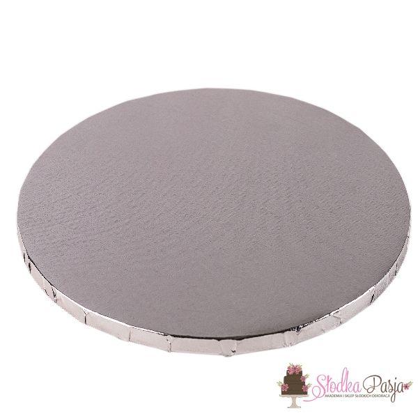 Podkład pod tort okrągły 28 cm - srebrny