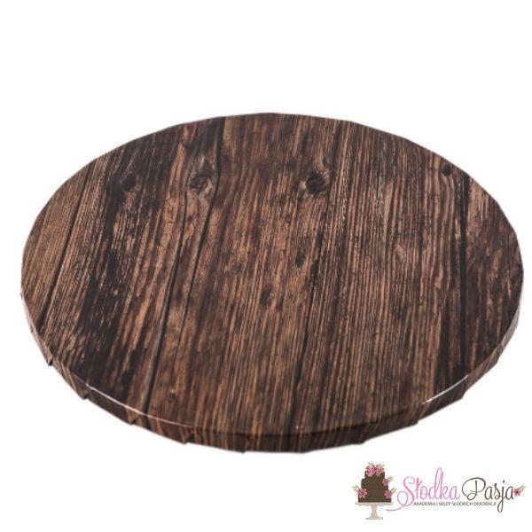 Podkład pod tort okrągły 35 cm - ciemne drewno