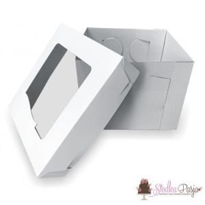 Pudełko na tort białe z okienkiem - 31,7X31,7X19,5
