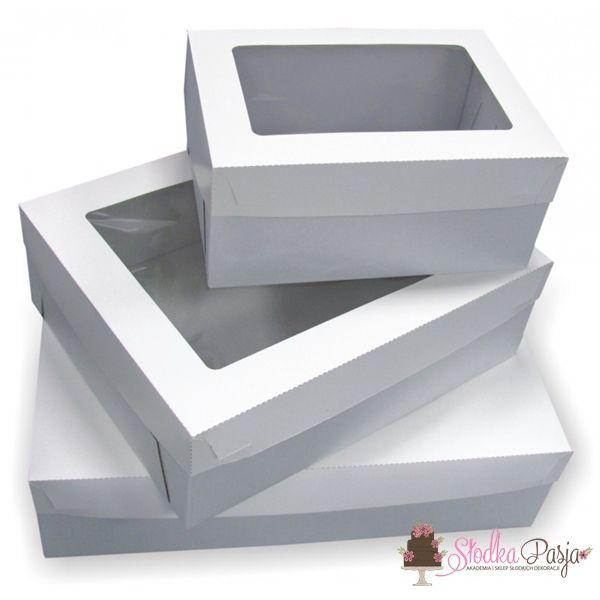 Pudełko z okienkiem białe na tort - 26x36x16