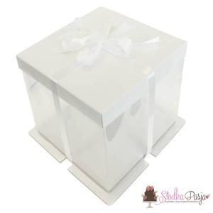 Pudełko na tort kartonowo-plastikowe białe - 30x30x25
