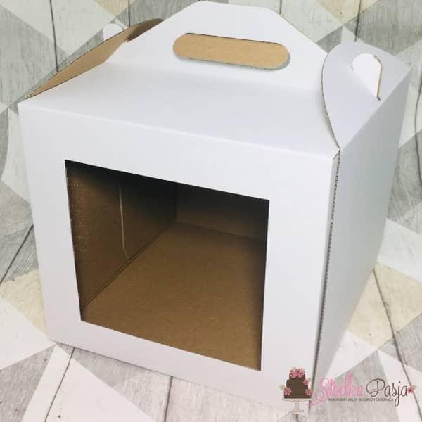 Pudełko na tort WYSOKIE z okienkiem z uchwytem 30x30x32 cm