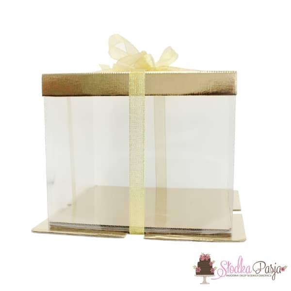Pudełko na tort kartonowo-plastikowe złote - 30x30x25