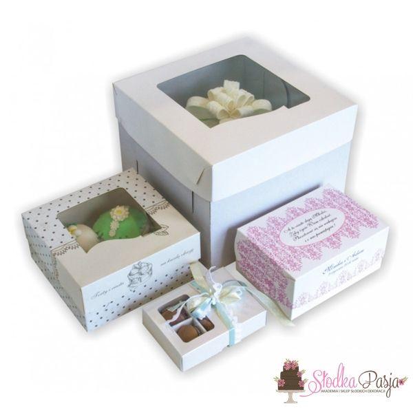 Pudełko z okienkiem na tort białe  - 31,7X31,7X19,5
