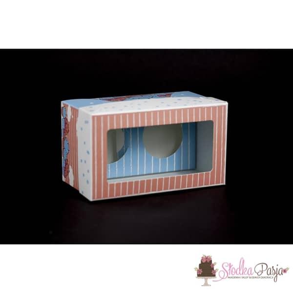 Pudełko z nadrukiem z okienkiem na 2 muffinki