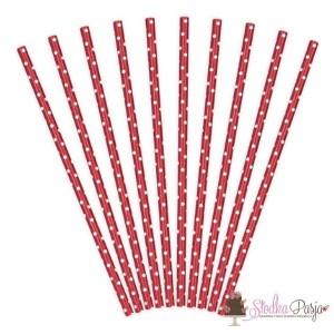 Słomki papierowe czerwone w białe kropki - 10 szt