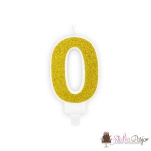 Świeczka urodzinowa cyfra 0, złota