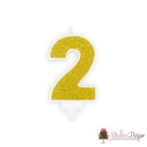 Świeczka urodzinowa cyfra 2 złota